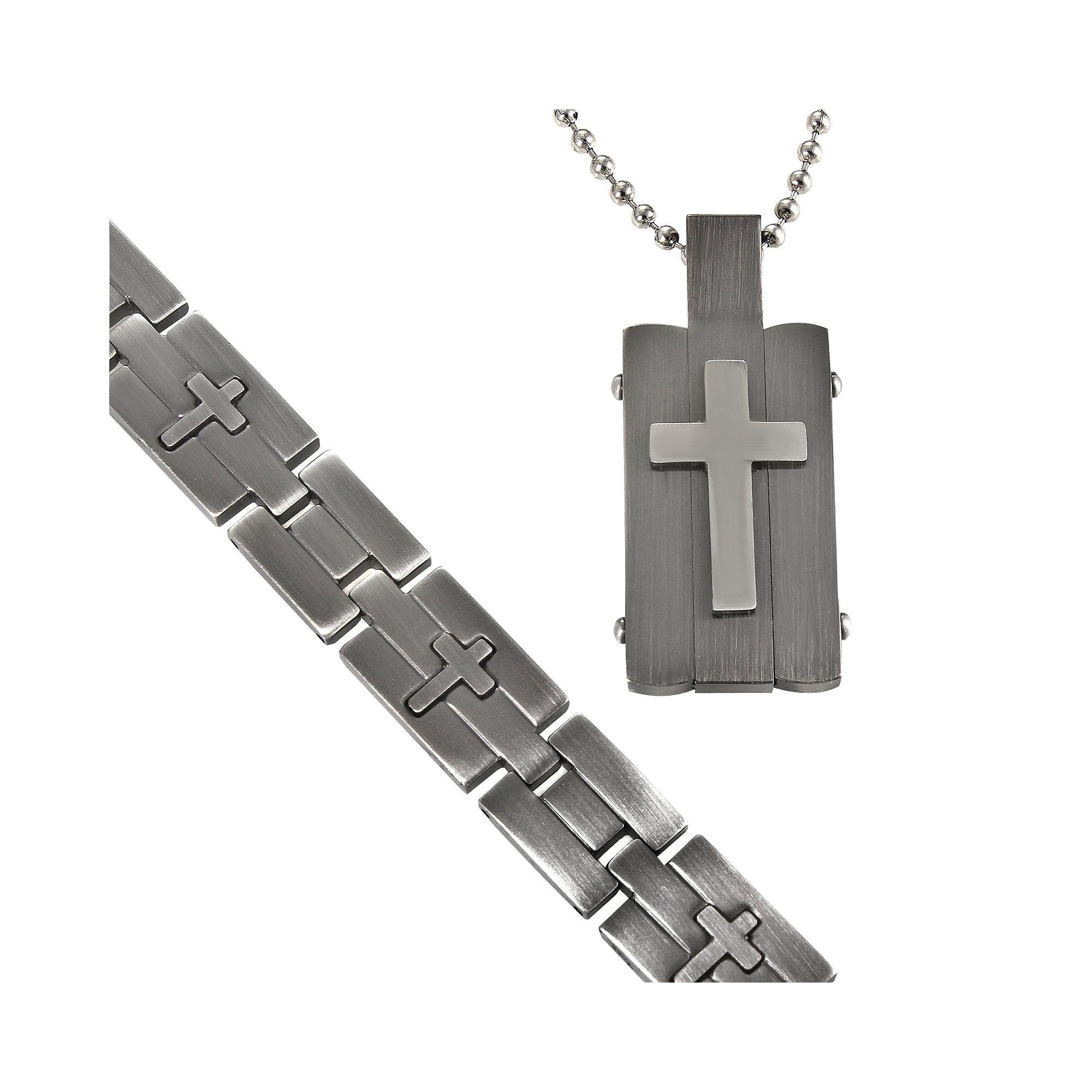 Men's Stainless Steel Cross-Embossed Dog Tag & Bracelet in Valet Box