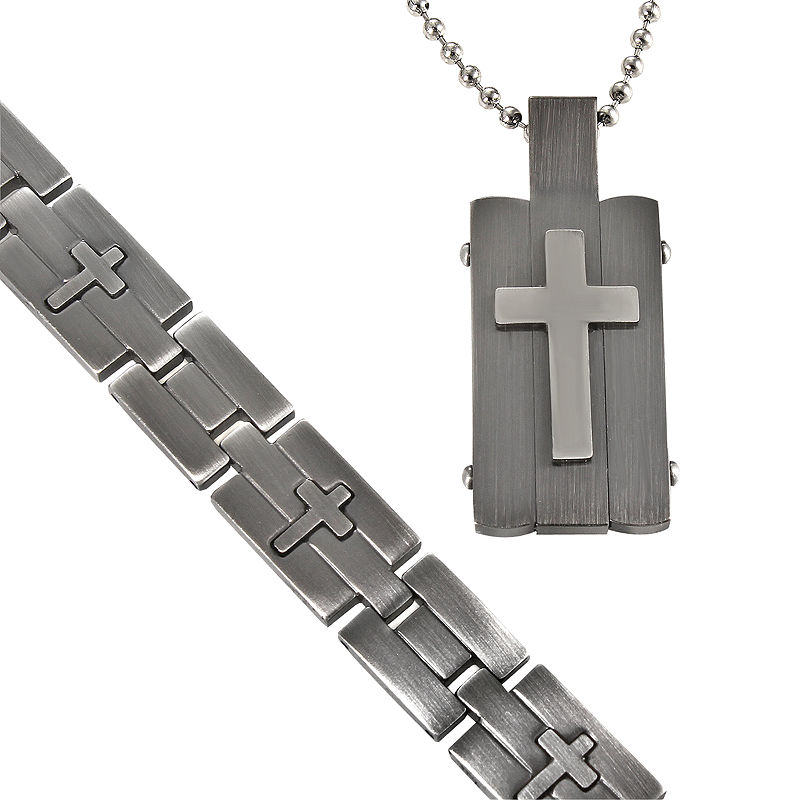 Men's Stainless Steel Cross-Embossed Dog Tag & Bracelet in Valet Box