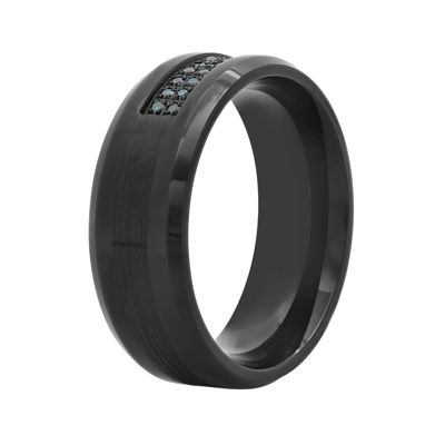 Mens 1/7 CT. T.W. Stainless Steel and Black IP 8mm Wedding Band