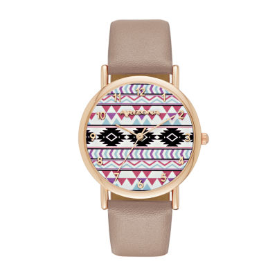 Arizona Womens Rose Gold Tone Aztec Print Taupe Strap Watch