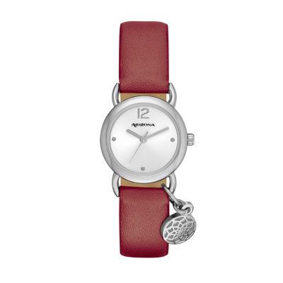 Arizona Womens Silver Tone Elephant Charm Maroon Strap Watch