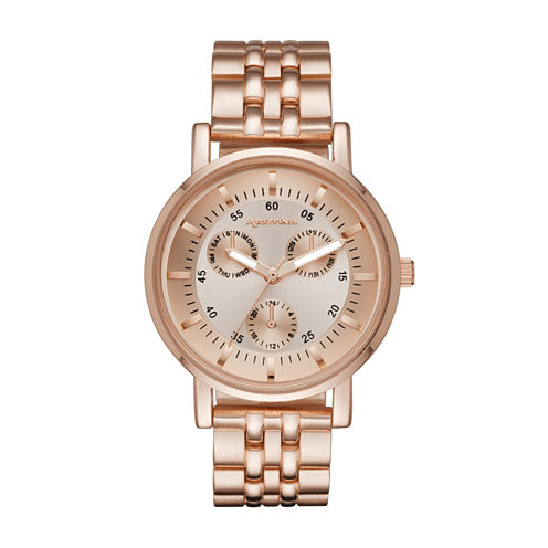 Arizona Womens Rose Gold Tone Bracelet Watch