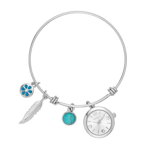 Arizona Womens Silver Tone Bangle Watch