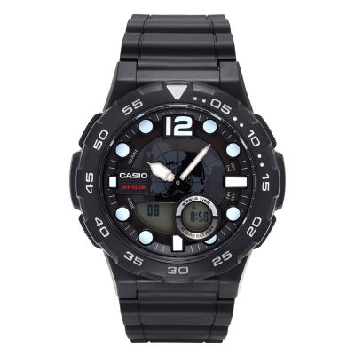 Casio® Mens Black Analog/Digital Dive Strap Watch AEQ100W-1AV