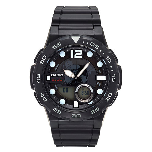 Casio® Mens Black Analog/Digital Dive Strap Watch AEQ100W-1AV