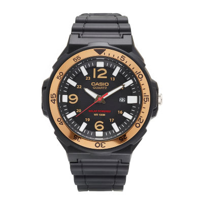 Casio® G-Shock Mens Black and Gold Three Hand Solar Strap Watch MRWS310H-9BV