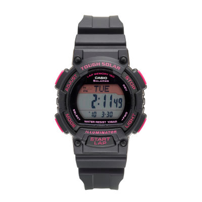 Casio® Solar Runner Womens Black and Pink Strap Watch STLS300H-1C