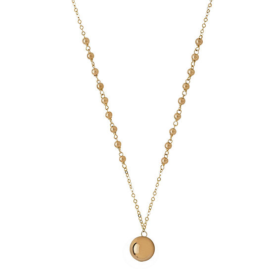 Infinite Gold 14k Yellow Gold Beaded Pendant Necklace