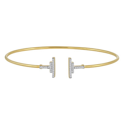 1/10 CT. T.W. Diamond 14K Gold Over Silver Bangle Bracelet