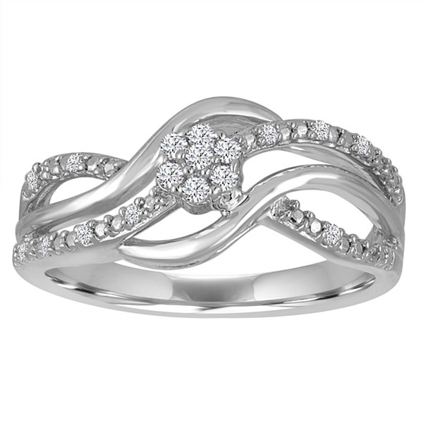 Diamond Blossom 1/10 Cttw Diamond Swirl Ring In Sterling Silver