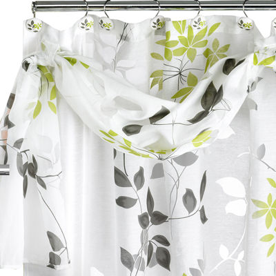 Mayan Leaf Shower Curtain with Valance