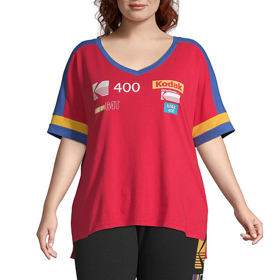 Womens V Neck Short Sleeve Graphic T-Shirt-Juniors Plus