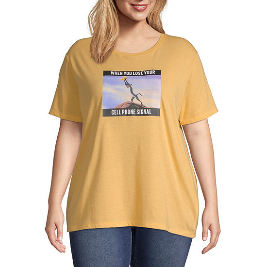 Disney Womens Round Neck Short Sleeve Graphic T-Shirt-Juniors Plus