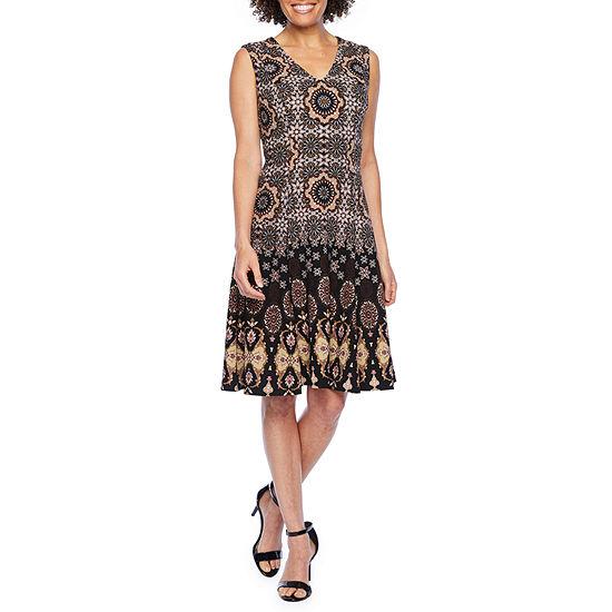 London Style Sleeveless Medallion Fit & Flare Dress