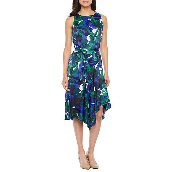 London Style Sleeveless Abstract Fit & Flare Dress