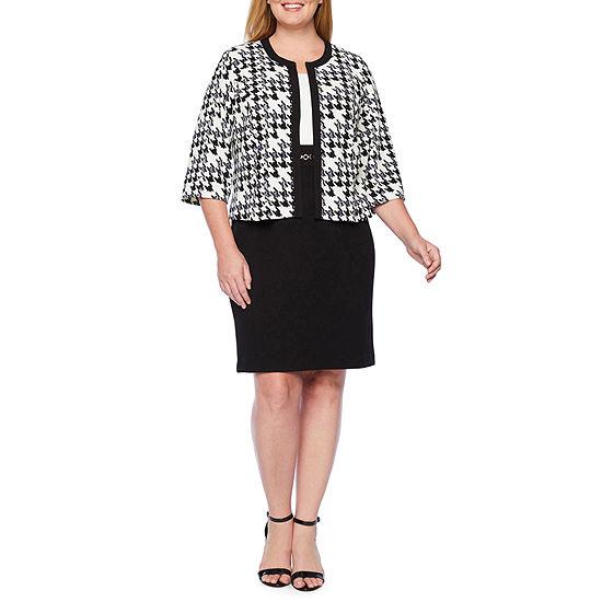 Studio 1 3/4 Sleeve Houndstooth Jacket Dress-Plus
