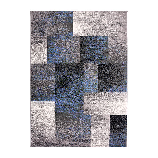 World Rug Gallery Modern Distressed Boxes Rectangular Indoor Rugs