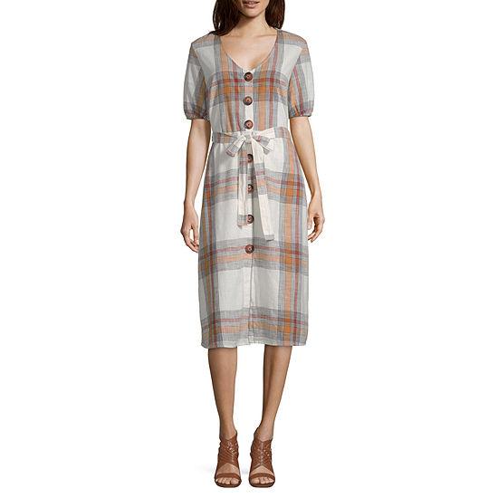 Worthington Short Sleeve Plaid Fit & Flare Dress
