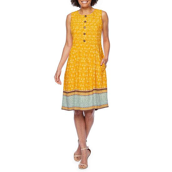 Rabbit Rabbit Rabbit Design Sleeveless Bordered Fit & Flare Dress