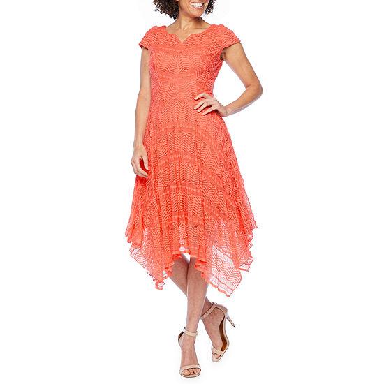 Rabbit Rabbit Rabbit Design Cap Sleeve Lace Fit & Flare Dress