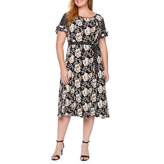 Perceptions Short Sleeve Floral Puff Print Fit & Flare Dress-Plus