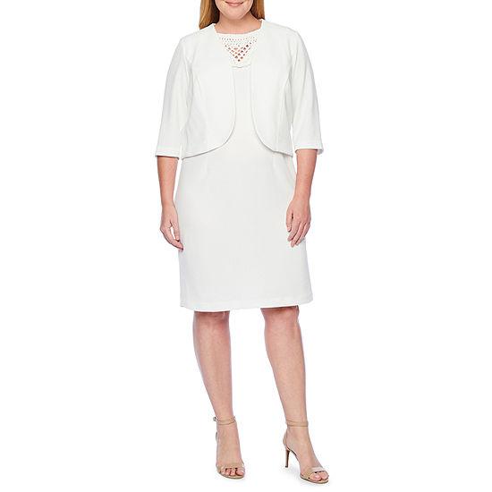 Maya Brooke 3 4 Sleeve Embellished Jacket Dress Plus