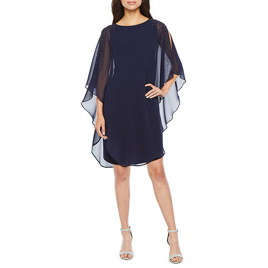 DJ Jaz 3/4 Sleeve Embellished Cape Sheath Dress