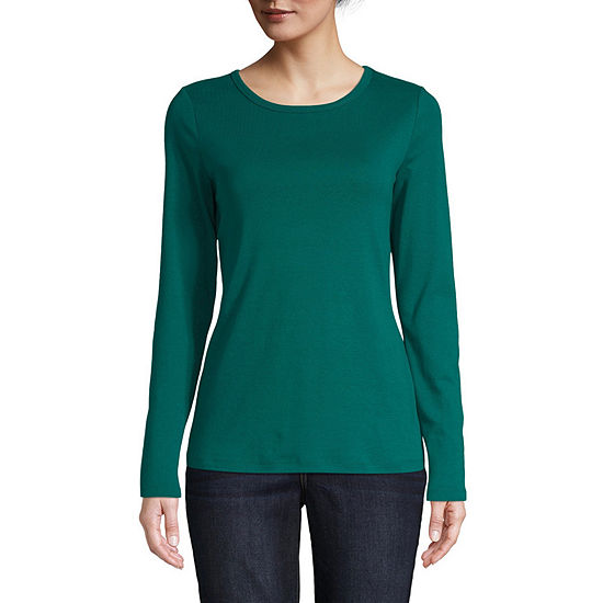 St. John's Bay Tall-Womens Crew Neck Long Sleeve T-Shirt