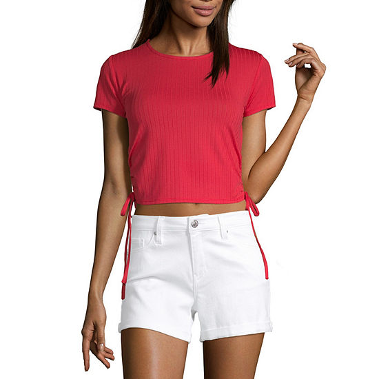 Society And Stitch-Juniors Womens Round Neck Short Sleeve Blouse