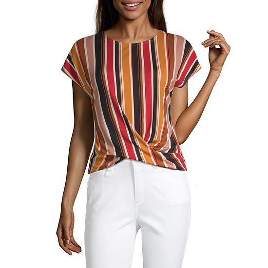 by&by Crew Neck Short Sleeve Knit Blouse-Juniors