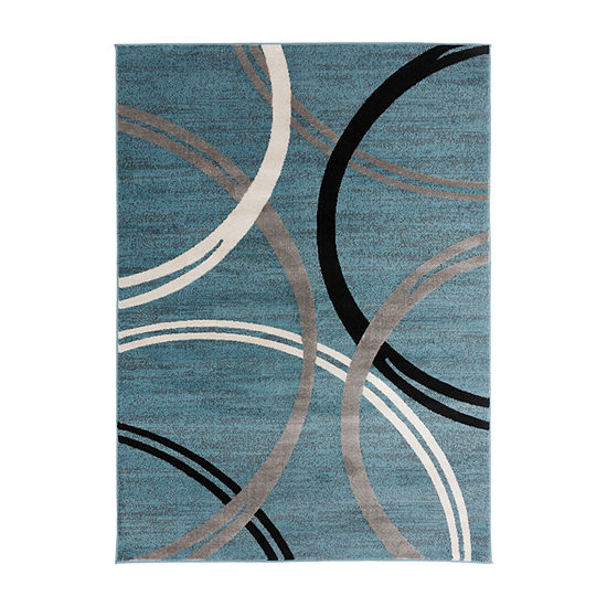 World Rug Gallery Modern Abstract Circles Design Rectangular Indoor Rugs