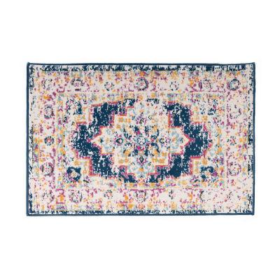 World Rug Gallery Bohemian Medallion Distressed Design Rectangular Indoor Rugs