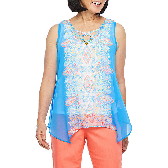 Hearts Of Palm Azure Thing Womens V Neck Sleeveless Embellished Blouse