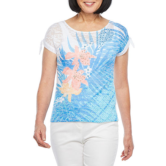 Hearts Of Palm Azure Thing-Womens Round Neck Short Sleeve T-Shirt
