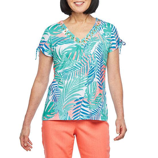 Hearts Of Palm Azure Thing-Womens V Neck Short Sleeve T-Shirt