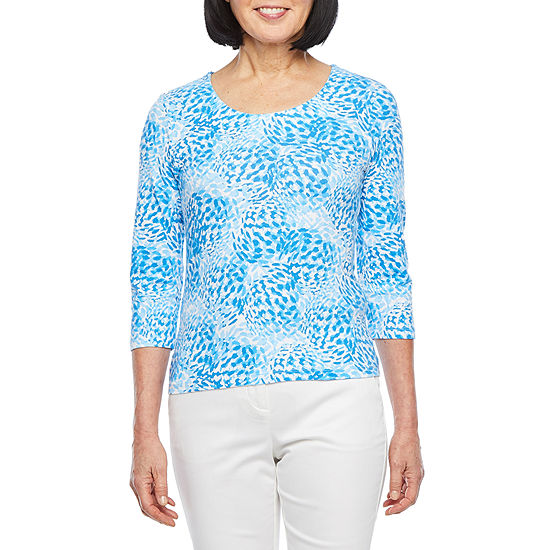 Hearts Of Palm Azure Thing-Womens Scoop Neck 3/4 Sleeve T-Shirt