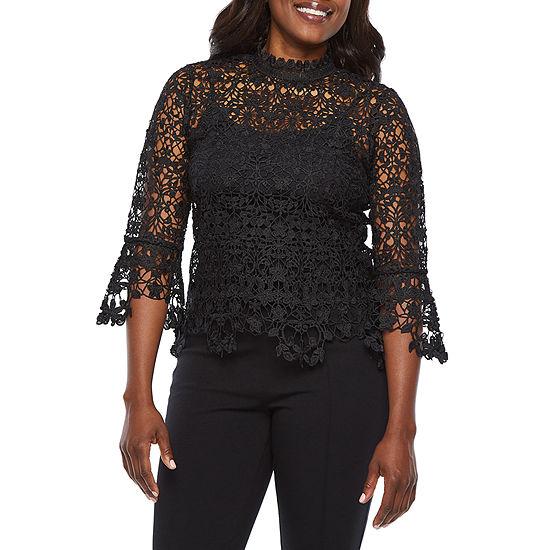 Bold Elements Womens Mock Neck 3/4 Sleeve Crochet Blouse
