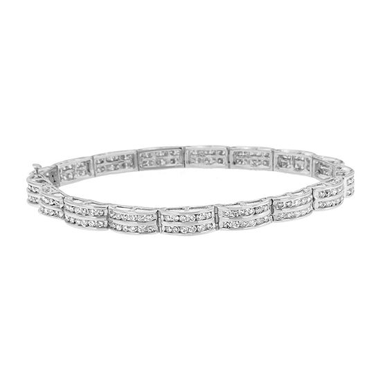 3 CT. T.W. Genuine White Diamond 14K White Gold 7 Inch Tennis Bracelet