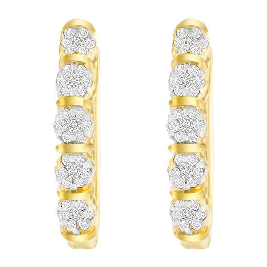 1/2 CT. T.W. Genuine White Diamond 14K Gold 20mm Hoop Earrings