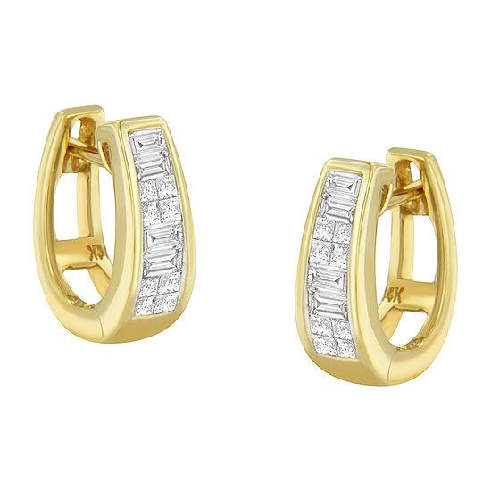 1/2 CT. T.W. Genuine White Diamond 14K Gold 12mm Hoop Earrings