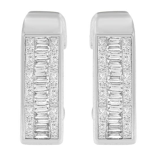 1 7/8 CT. T.W. Genuine White Diamond 14K White Gold 20mm Hoop Earrings