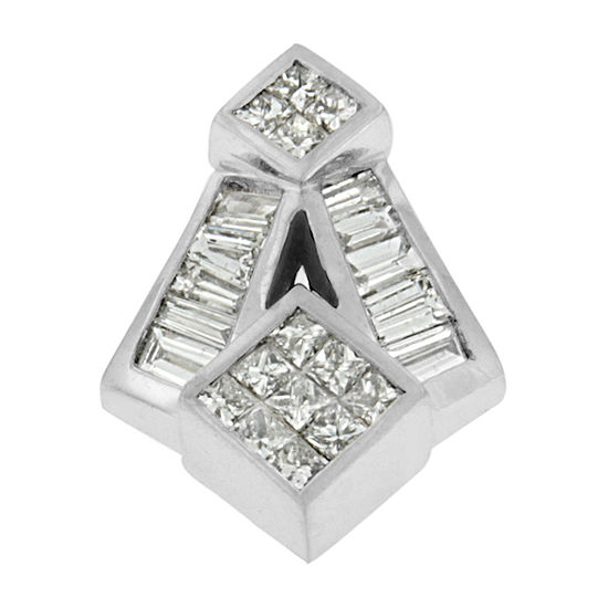 Womens 1 5 8 Ct Tw Genuine White Diamond 14k White Gold Pendant Necklace