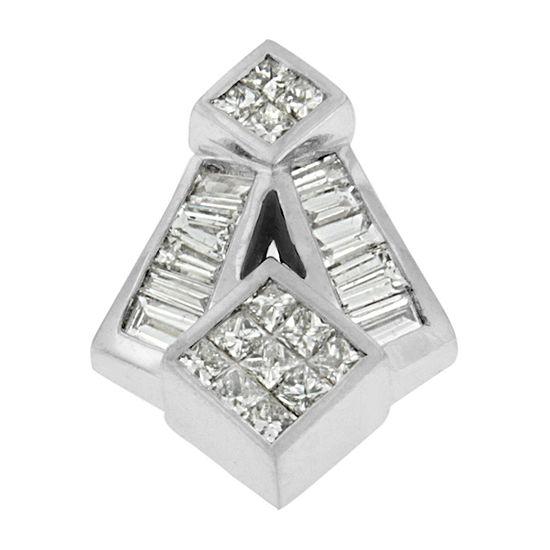 Womens 1 5/8 CT. T.W. Genuine White Diamond 14K White Gold Pendant Necklace