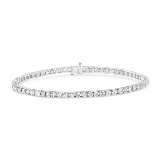 2 CT. T.W. Genuine White Diamond 14K White Gold Tennis Bracelet