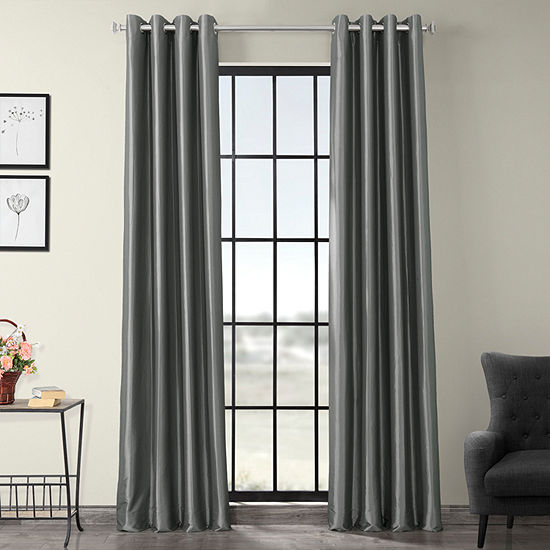 Exclusive Fabrics & Furnishing Faux Silk Taffeta Energy Saving Blackout Grommet-Top Single Curtain Panel
