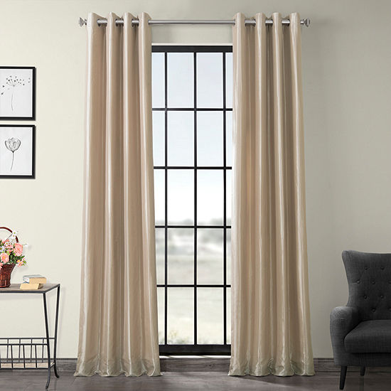 Exclusive Fabrics & Furnishing Grommet-Top Blackout Faux Silk Taffeta Curtain Panel