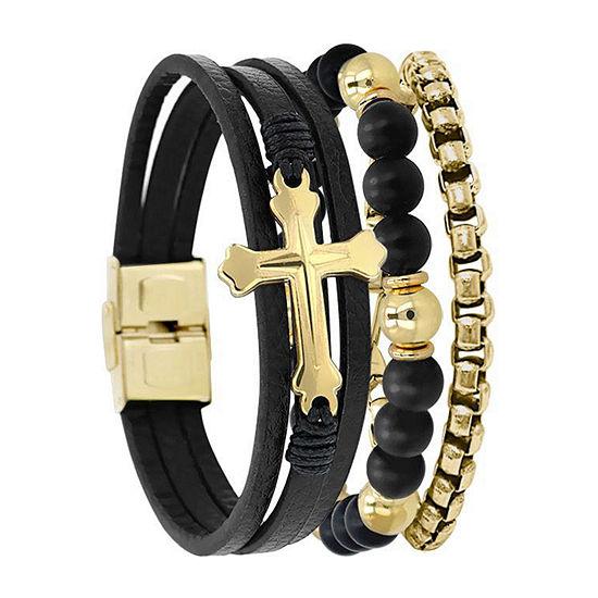 Gold Tone Stainless Steel Beaded Bracelet