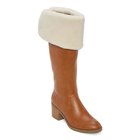 70s Shoes, Platforms, Boots, Heels | 1970s Shoes a.n.a Womens Delphos Riding Boots Block Heel 5 Medium Beige $77.00 AT vintagedancer.com