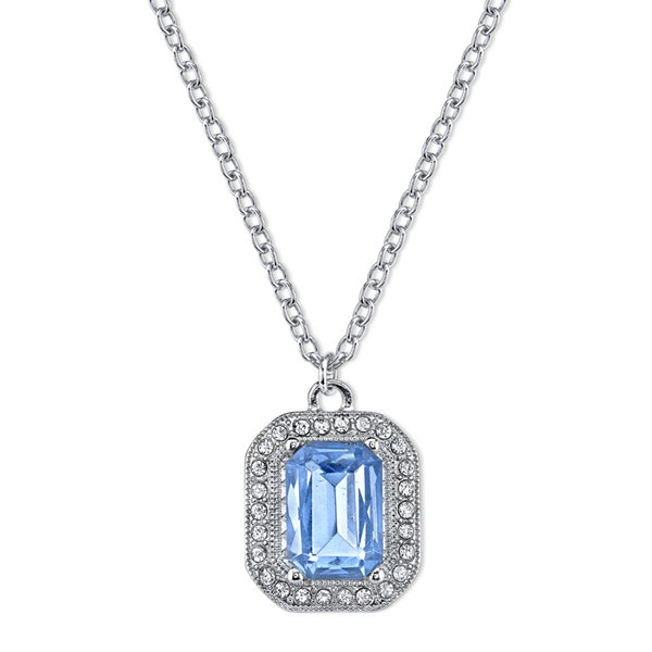 1928® Jewelry Blue Stone and Crystal Pendant Necklace