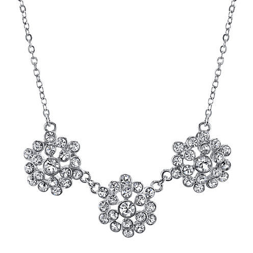 1928® Jewelry Crystal Flower Cluster Collar Necklace